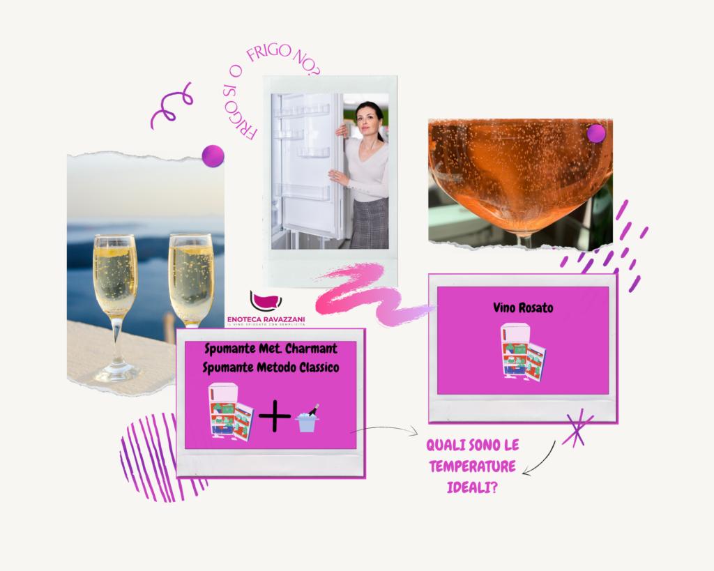 qual'è la corretta temperatura di servizio dei vini spumanti o rosati?